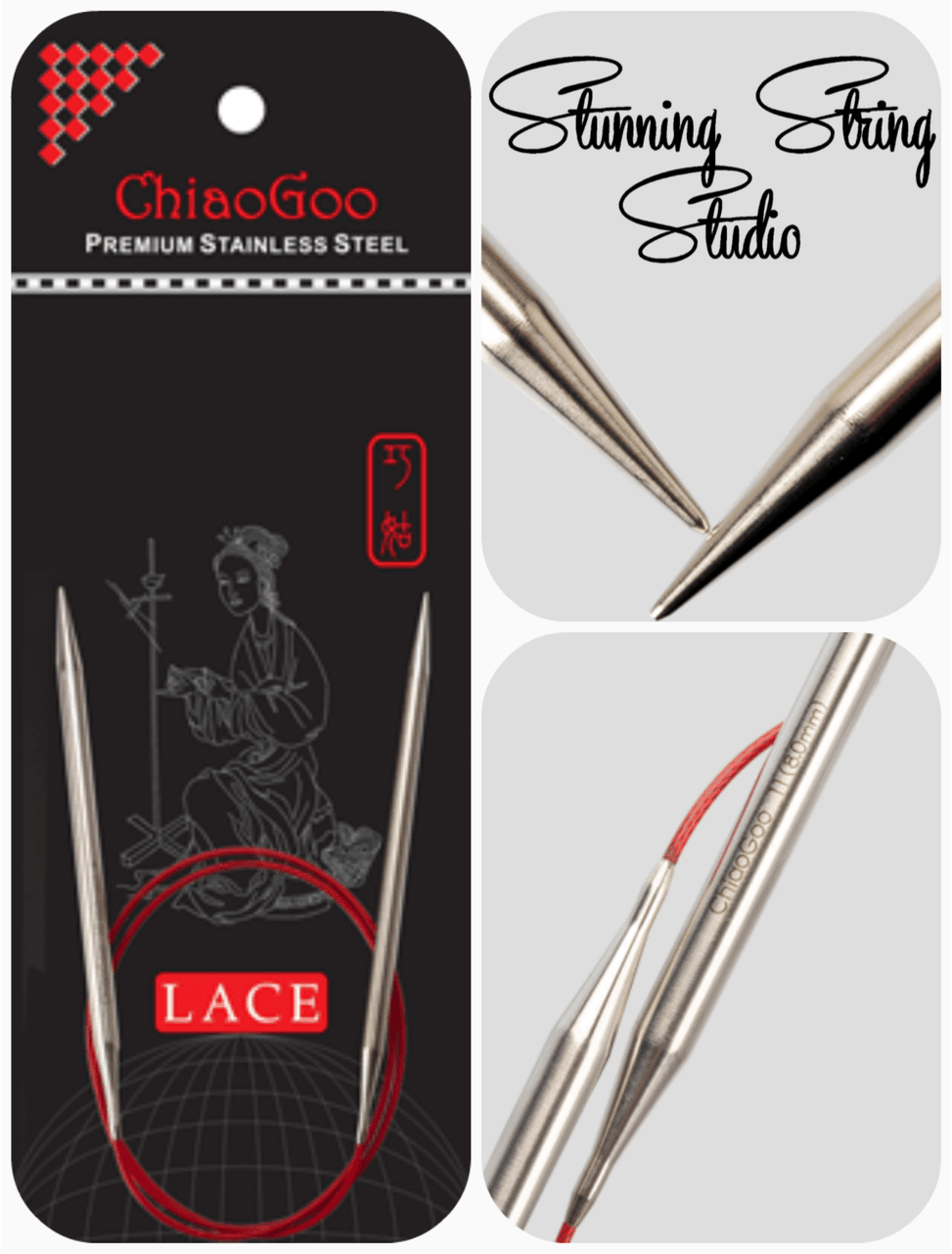 Chiaogoo Red Lace Circular Needles