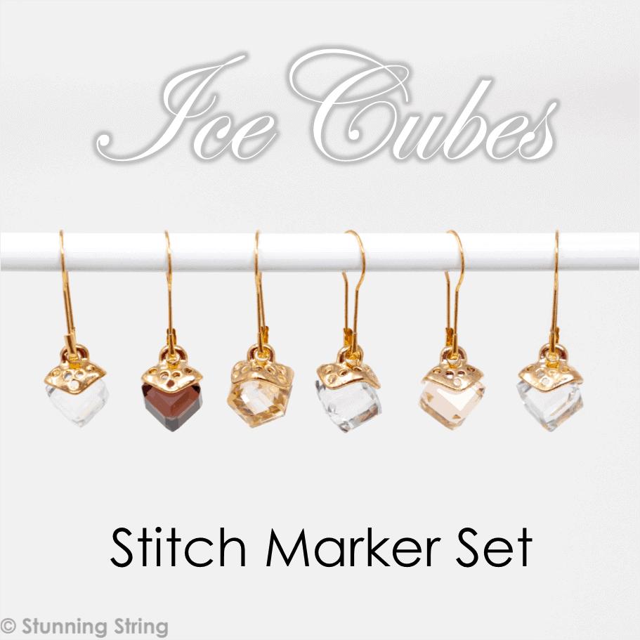 Ice Cubes glass Stitch Marker Set