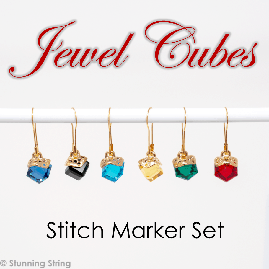 Jewel Cubes glass Stitch Marker Set