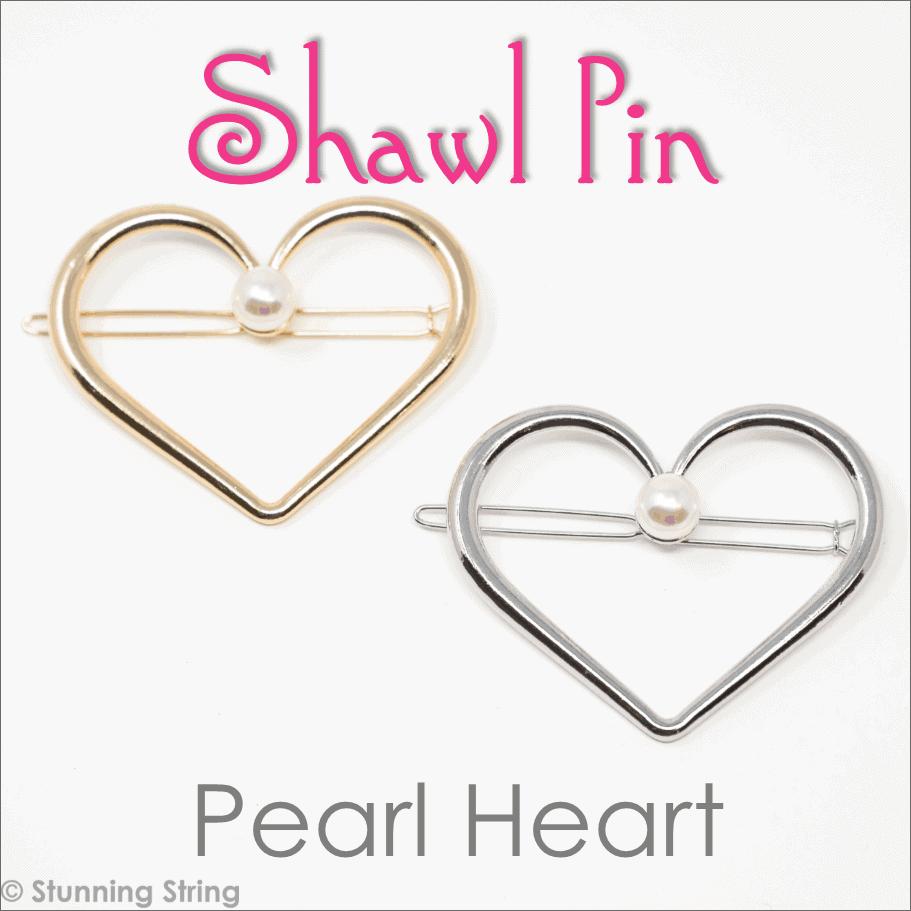 Pearl Heart Shawl Pin