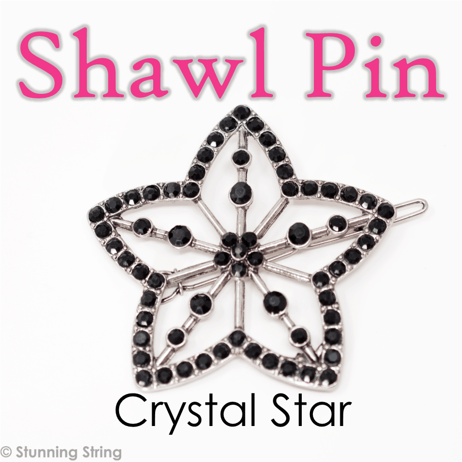 Black Crystal Shawl Pin