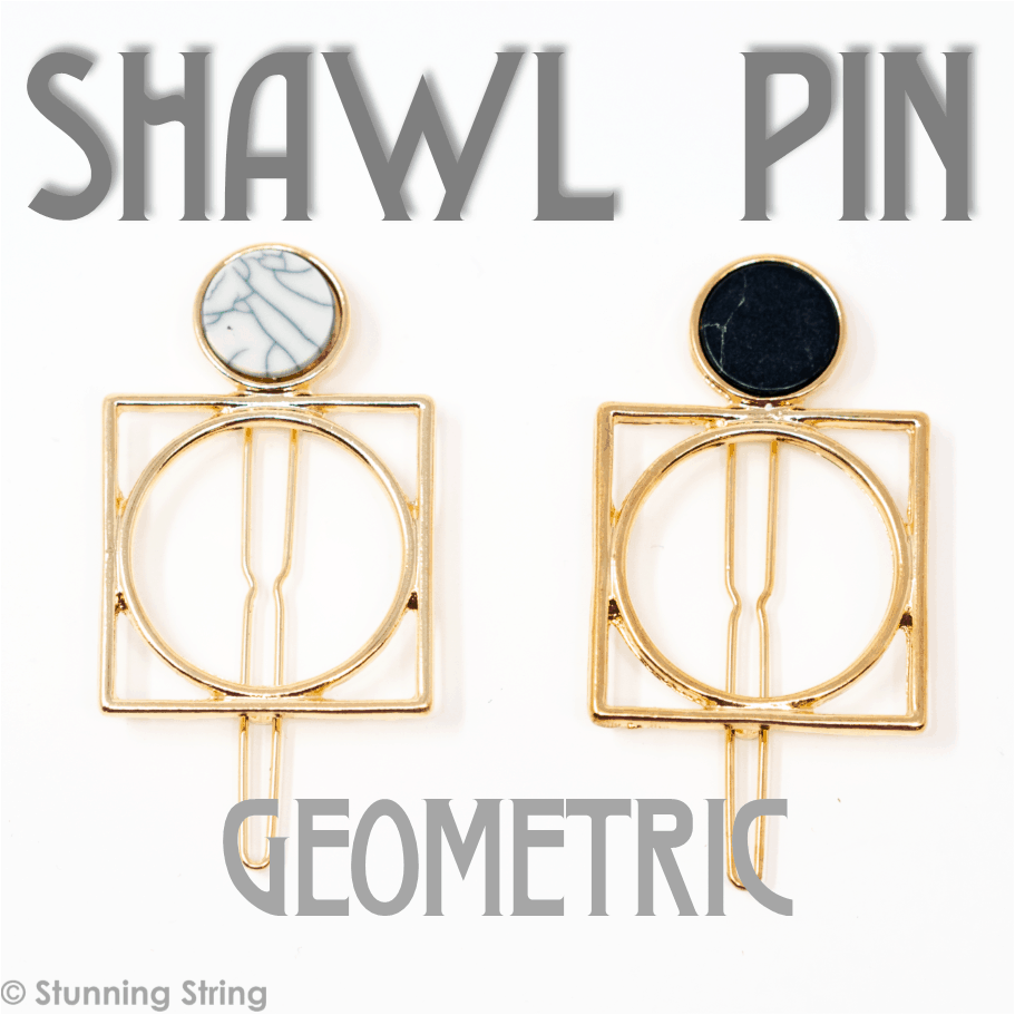 Geometric Marble Shawl Pin