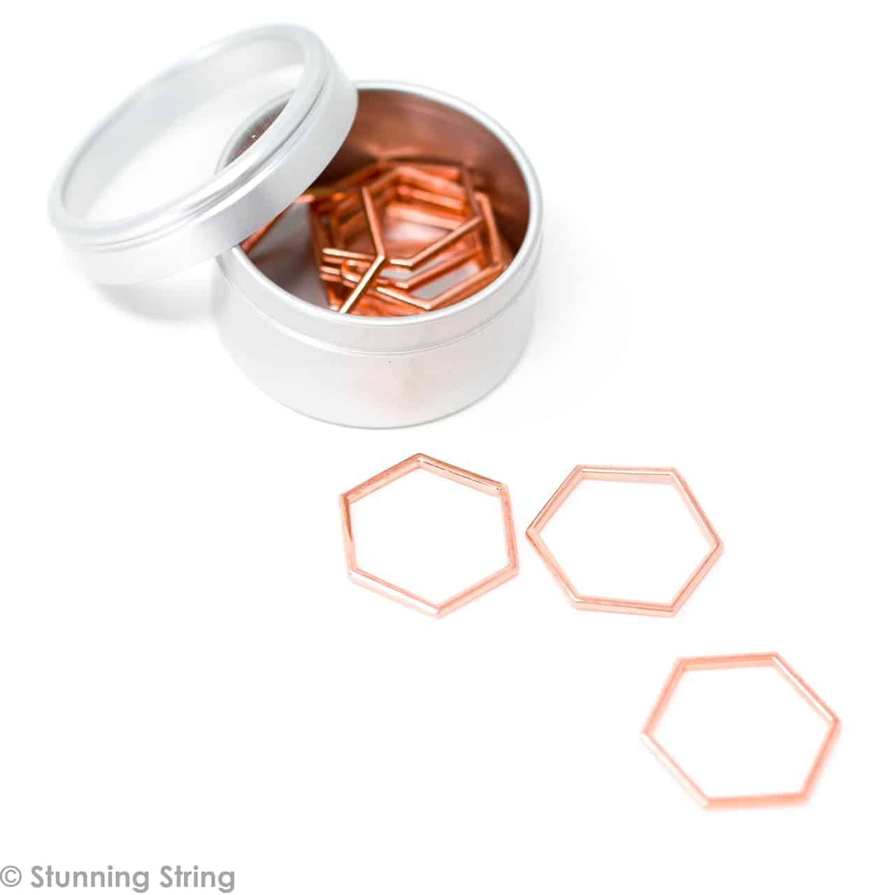 NEW Rose Gold Hex Stitch Markers