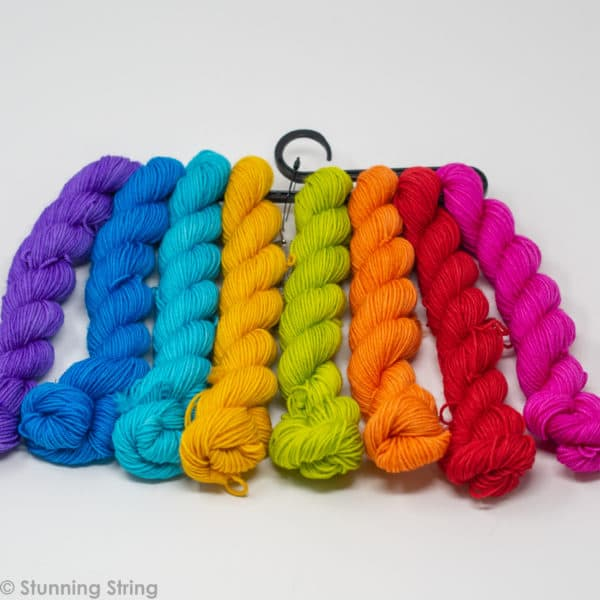 knitting beach rainbow yarn minil skeins set