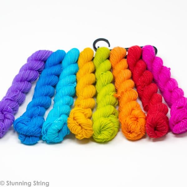 knitting beach rainbow yarn minil skeins set