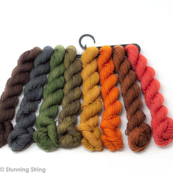 knitting autumn fall rainbow yarn mini skeins set