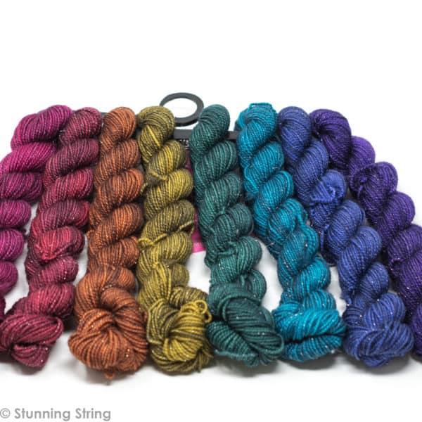 knitting jewel tone colors rainbow yarn mini skeins set