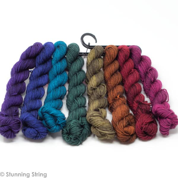 knitting jewel tone fall rainbow yarn mini skeins set